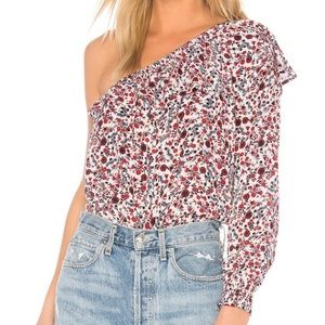 Off shoulder, asymmetrical long sleeve floral top